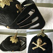 Antique Odd Fellows IOOF Fraternal Ceremonial Helmet Spike Hat Skull Crossbones