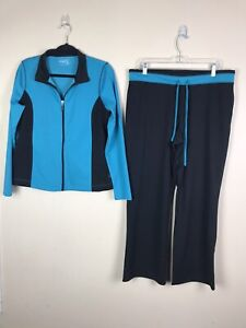 Be Inspired Workout outfit set womens  zip jacket pants black blue Size L Peti