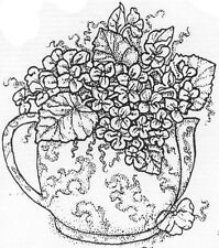 Unmounted Rubber Stamps, Tea Pitcher, Floral Stamps, Flowers, Violets, Pitchers