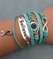 Bracelet bleu turquoise oeil, ruban hope. believe, lutte contre le cancer