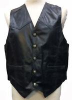 Mens Genuine Soft 100% Leather Black Waistcoat / Biker Jacket Vest S,M,L,XL,XXL