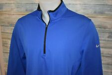 NIKE GOLF THERMA-FIT Men's Soft Polyester Fleece Lined 1/4 Zip Pullover Blue XL