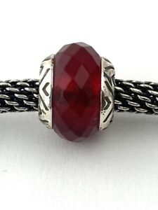 Authentic Brighton Faceted Transparency Bead, J9596, Silver, Red, New
