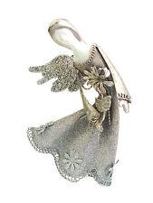 "Stardust Angel Flower Ornament 5.5""H - Porcelain, Glitter, Metal -"