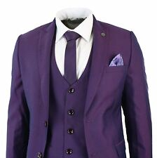 Mens Violet Plum Slim Fit 3 Piece Suit Occasional Wedding Party Prom Tonic