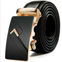 Fashion Mens Genuine Leather Ratchet Belt Automatic Buckle Waist Strap Waistband