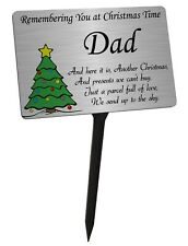 Christmas Tree Memorial Plaque & Stake for Dad. Brushed Silver garden grave