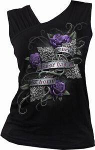 Every Rose Womens Gathered Shoulder Slant Vest Black | Gothic | Cross | Celtic