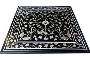 "24"" Black Marble Sofa Table Top Floral Pattern Coffee Table with Marquetry Art"