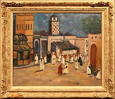 Impressionistic 20th Century Oil Painting of Rabbi in Middle Eastern Bazar
