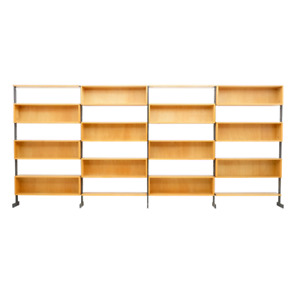 Large Bookcase Free Standing Shelf, Oak and Metal Germany 1960s 60er Regal