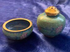 Vintage Chinese Cloisonné Salt Cellar & Pepper Shaker - Blue & Pink on Aqua