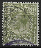 SG393a  9d.Olive-Green Fine Used. Clean Back. Watermark Clear From Back.Ref:0729