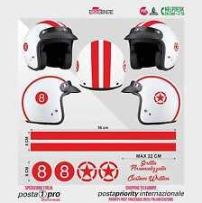 Kit ROSSO 8 Stella Strisce STICKER CASCO ADESIVO DECAL MOTO SCOOTER HELMET