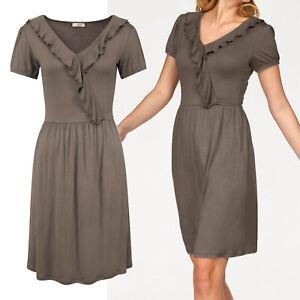 toll Sommer Kleid Gr.44/46 Shirtkleid taupe Rüschen Volants Wickeloptik Stretch