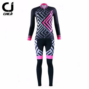 CHEJI Women's Cycling Set Long Sleeve Jersey & Padded Tights Pants Kit Pink Maze