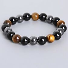 Beautiful Tigers Eye, Hematite & Obsidian Chakra Natural Stone Bracelet Reiki