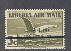Liberia 1944-5, $1.00 overprint on 3c bird airmail, NH, $$ #C49 signed STOLOW