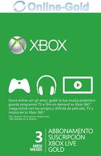 Xbox Live Gold Suscripción 3 Meses código Xbox One 360 Prepago Tarjeta Membresía