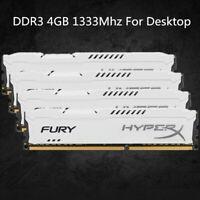 For Kingston HyperX 4GB 8GB 16GB PC3-10600 DDR3-1333MHz DIMM White Desktop RAM