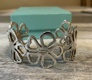Tiffany & Co. Sterling Silver Flower Wide Cuff Bracelet Paloma Picasso