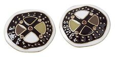 £40 Tribal Gold Black White Brown Clip On Earrings Swarovski Elements Crystal