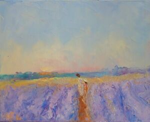 Lavender-oil On Canvas-original- Painting-victorian-flowers-summer fields