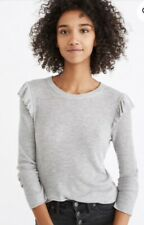 MADEWELL Grey Ruffle Sleeve Thermo Top XXS $79 Excellent Unworn Condition