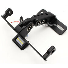 CNC Motorcycle License Plate Holder &LED Light Mount Bracket Universal Black