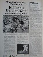 "1963 Kellogg's Green Bay Packers Paul Hornung-3/4 p Original Print Ad 8.5 x 11"""