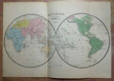 WORLDMAP XIXe CENTURY 1855 by VUILLEMIN VERY LARGE ANTIQUE ENGRAVED MAP