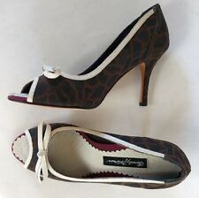 BEVERLY FELDMAN Peep Open Toe High Heel Pumps Shoes Sz 6.5M Bow Brown Cream
