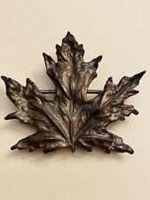 Vtg Leaf Leave Maple Great Detailed Belt Buckle Bergmont Brass Works 1974