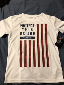 Boy's Under Armour S/S Shirt Red, White, & Blue Protect This House Sz 7 NEW NWT
