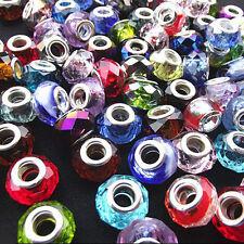 10Pcs Multicolor Murano Lampwork Glass Charm Big Hole Bead Fit European Bracelet