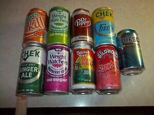 9 Aluminum SODA POP CANS - Weight Watchers, CHEK, Super Chill, FRESCA ETC