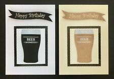 Beer Monster Happy Birthday Hand crafted Card with envelope blank inside A6