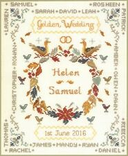 Golden Wedding Sampler - complete cross stitch kit on 14 aida with COLOUR chart