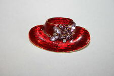 Brooch Pin - Red Enamel Hat - Purple Aurora Borealis Rhinestone Flower Gold Tone
