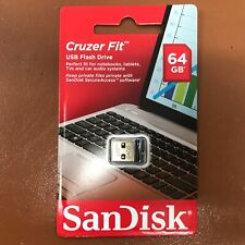 NEW SanDisk 64 GB CRUZER FIT USB Memory Stick Flash Pen Drive Tiny Small USB 2.0