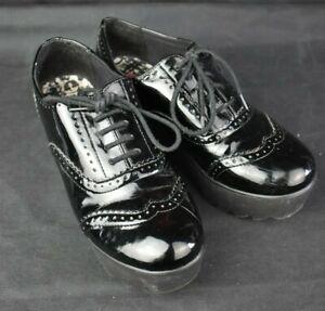 Women's Rock & Candy By Zigi Shiny Black Platform Brogues UK5 EU38 Punk Goth