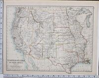 1889 LARGE ANTIQUE MAP ~ UNITED STATES NORTH AMERICA WESTERN TEXAS UTAH WYOMING