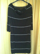Autograph M&S Black Fine White Stripe T-Shirt Dress Cowl Neck Jersey 3/4 Sleeves