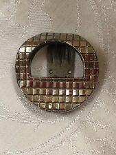 Antique Dress Clip Iconic Art Deco Geometric Shoe Lapel Brooch Old Chrome