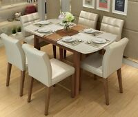 Solid Wood+ Tempered Glass Dining Table + 4 PU Leather Chairs