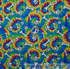 BonEful Fabric FQ Cotton Quilt Rainbow Hippie Tie Dye Puppy Dog S Paw Print Bone