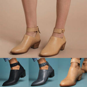 Women Casual Faux Chunky Heel Zip Ankle Boots Comfortable Breathable Shoes New