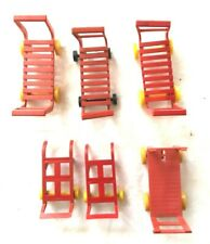 Marx Toy Lot of 6 Utility & Hand Carts Red Yellow HTF Free Shipping