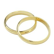 WEDDING RINGS PLASTIC CAKE TOPPER DECORATIONS - GOLD OR SILVER COLOURED