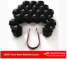 Black Wheel Bolt Nut Covers GEN2 17mm For Peugeot 208 12-17